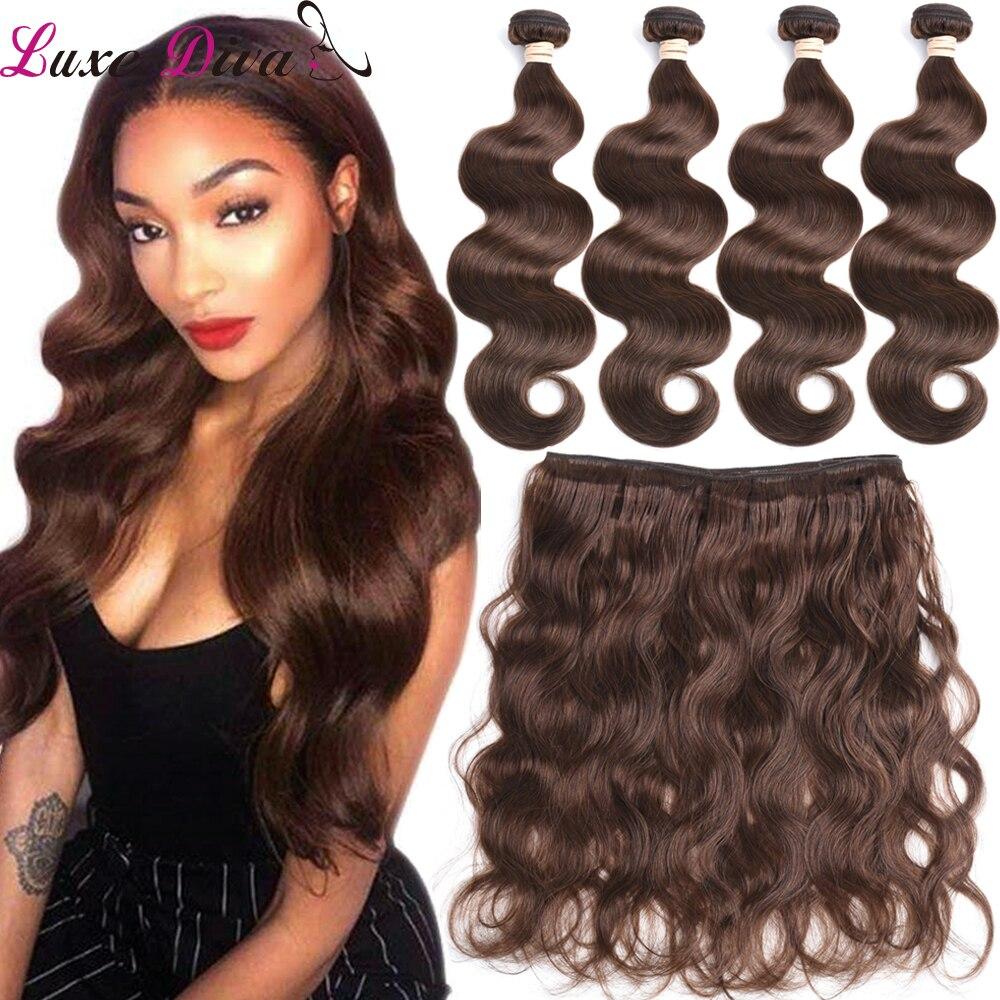 Luxediva Pre-Colored Body Wave Hair Weave Bundles Brazilian Human Hair Extensions #2 #4 Light Brown Remy Wholesale Bulk 1-4 Lots